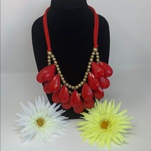 💛 Adjustable Tie-Up Gold & Red Necklace